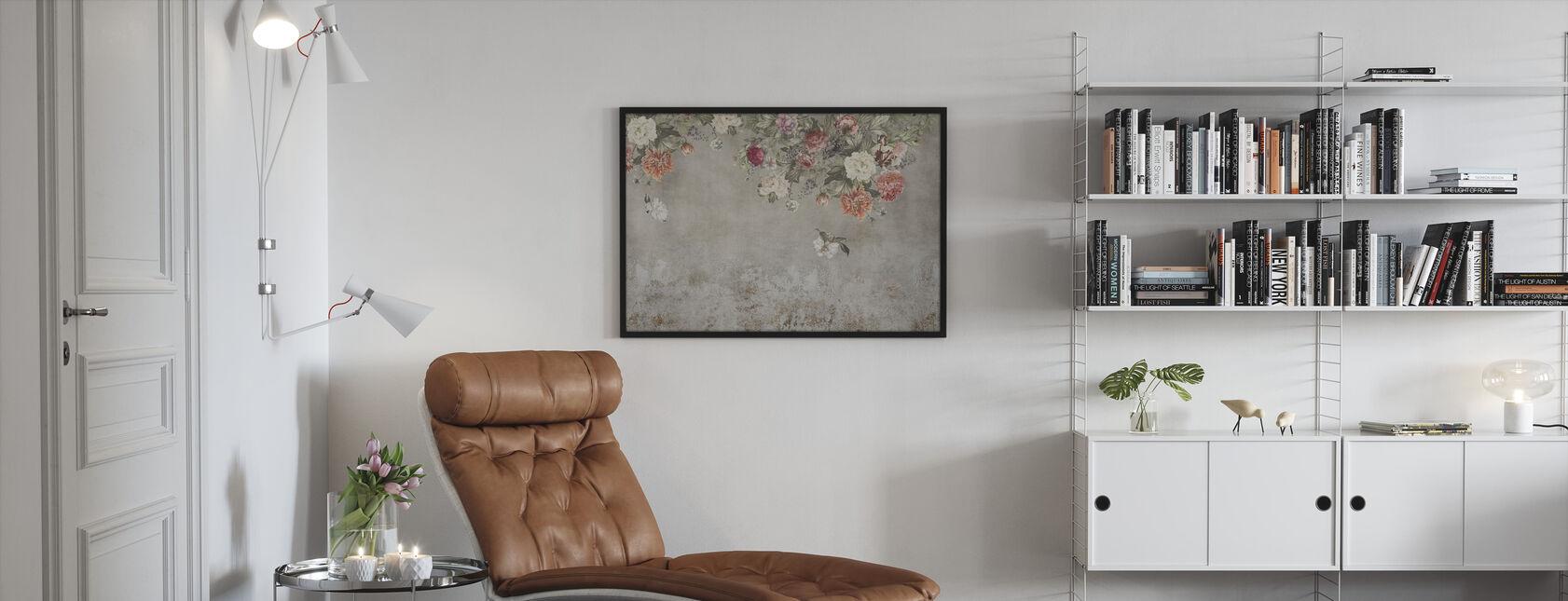 Vintage blomma vägg - Inramad tavla - Vardagsrum