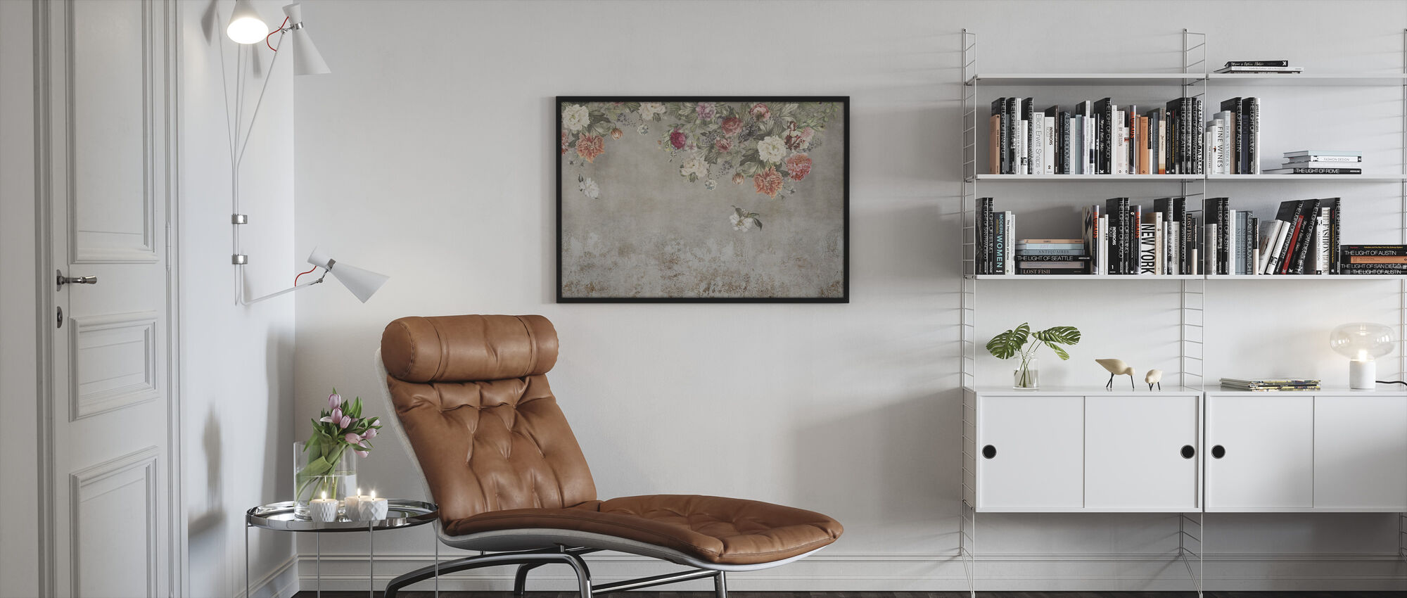 Vintage Flower Wall - Framed print - Living Room