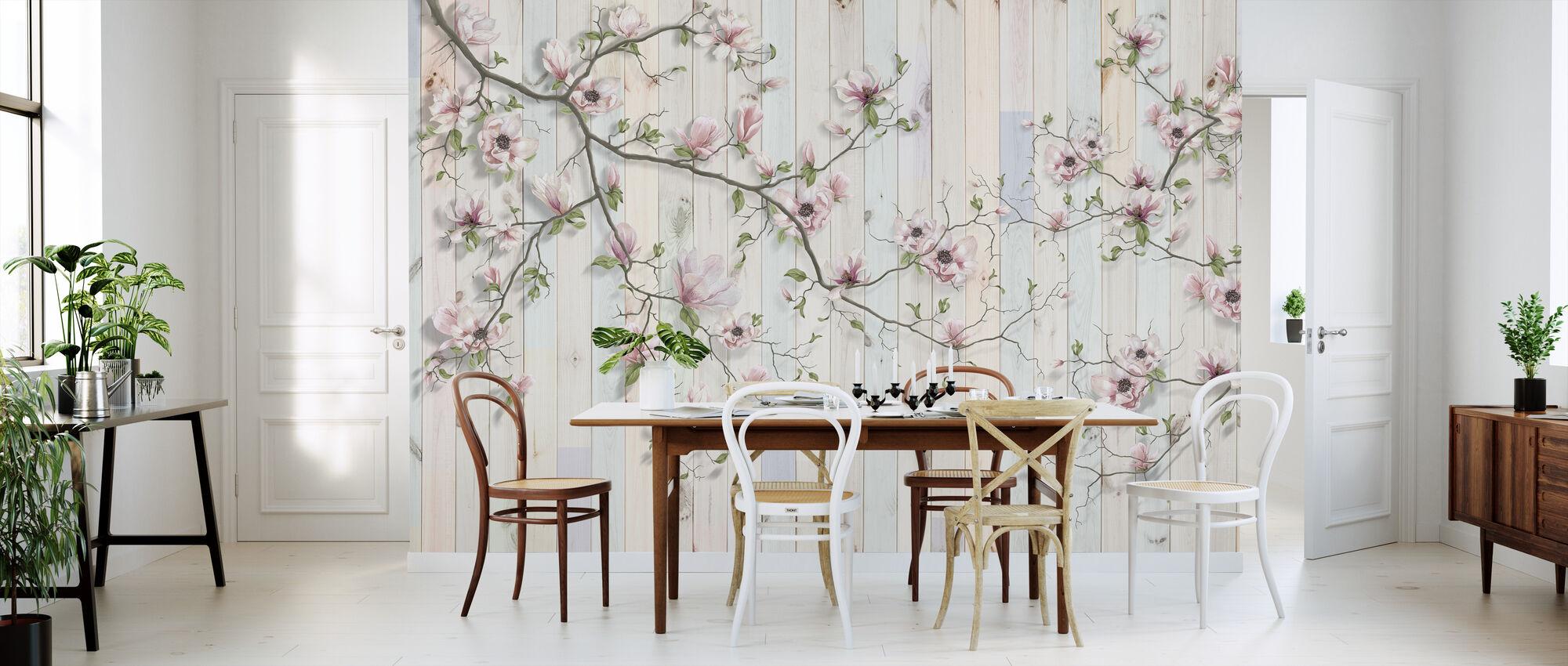 Magnolia Plank Wall - Wallpaper - Kitchen