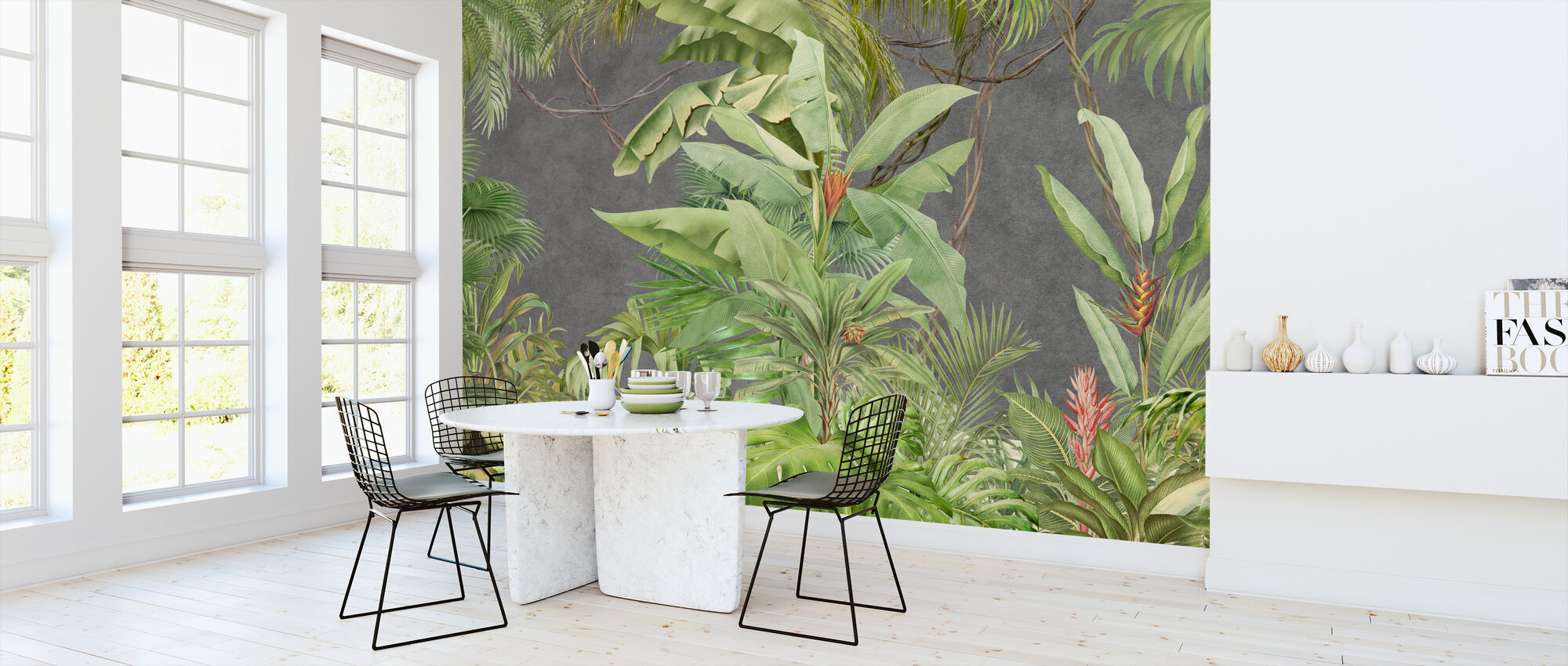 Deep Tropical on Concrete Wall - Wallpaper - Kitchen