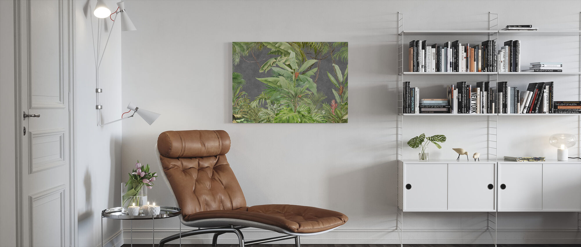 Deep Tropical on Concrete Wall - Canvas print - Living Room