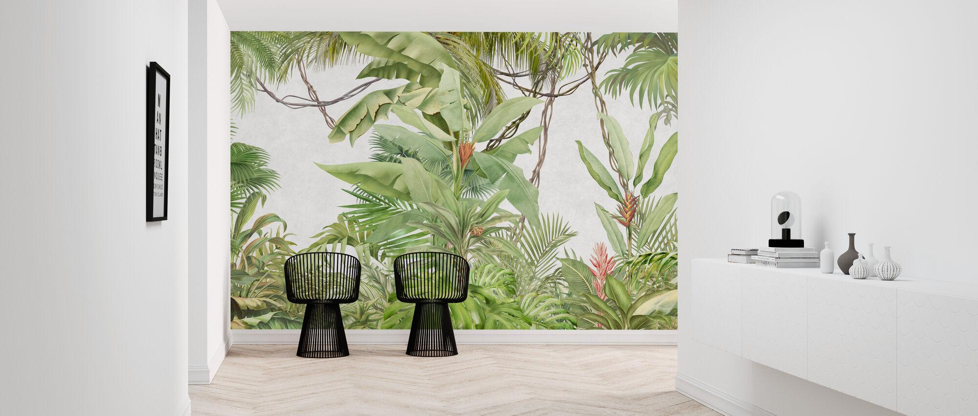 Diep Tropisch op lichte betonnen muur - Behang - Gang