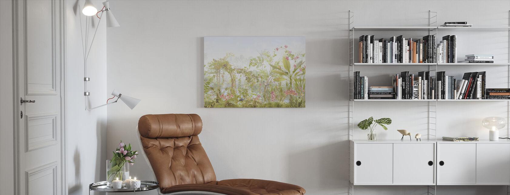 Tropische vogels en bloemen - Canvas print - Woonkamer