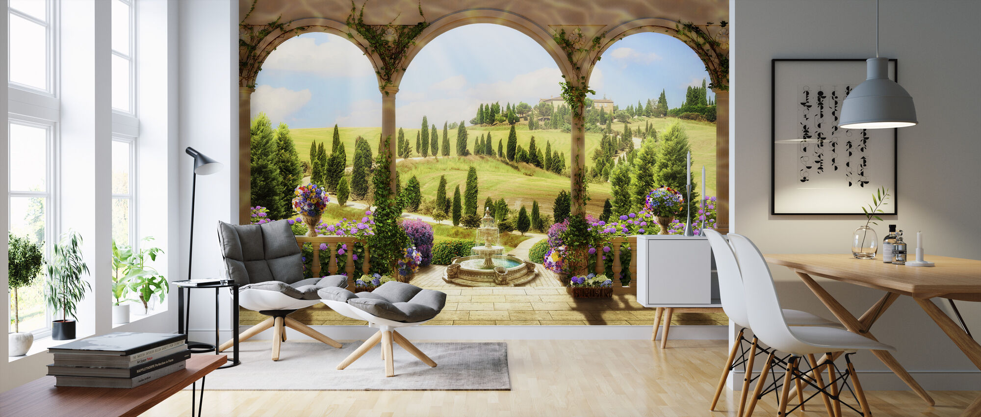 Lovely Countryside Road - Wallpaper - Living Room
