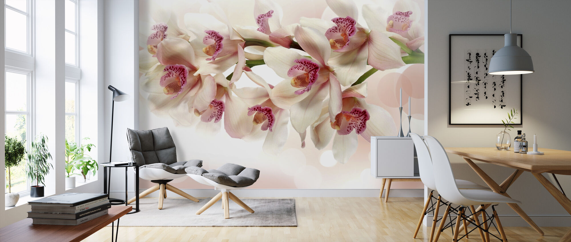 Pink Orchid - Wallpaper - Living Room