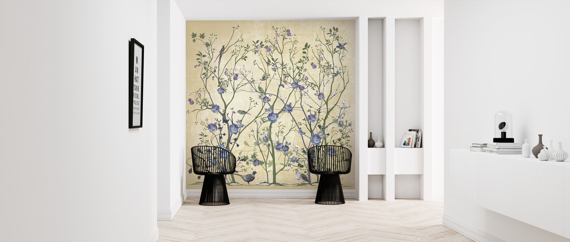 Blue Rose Bush - Wallpaper - Hallway