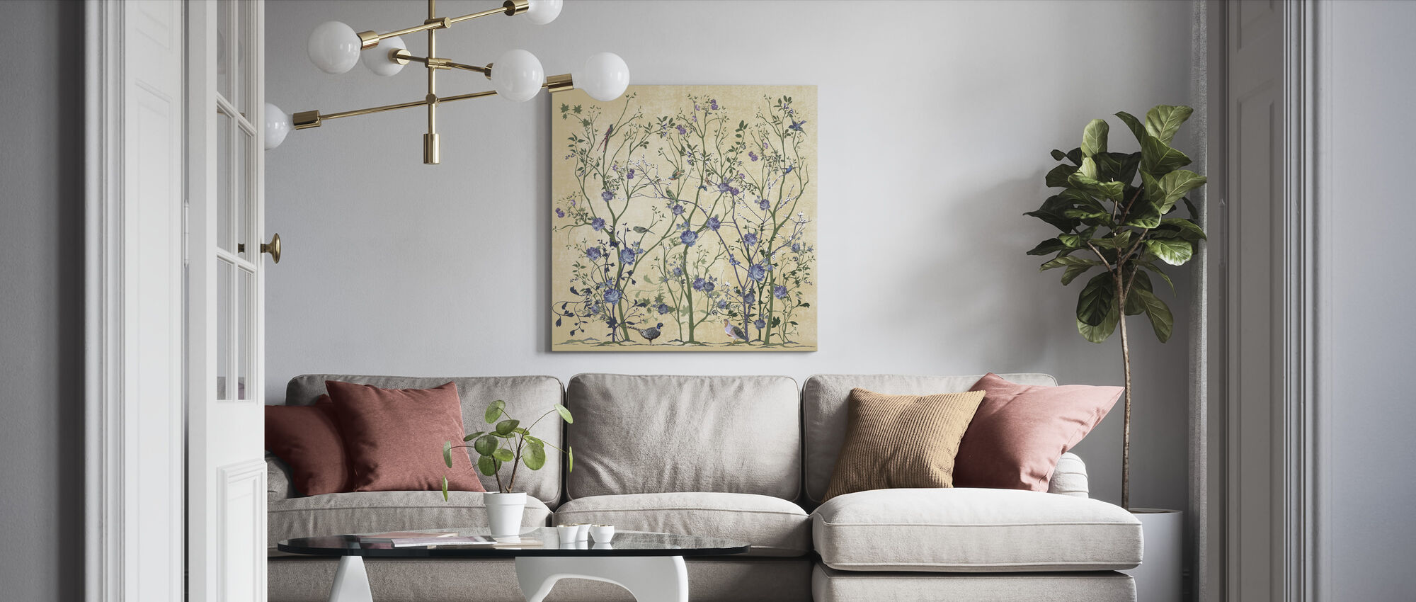 Blue Rose Bush - Canvas print - Living Room