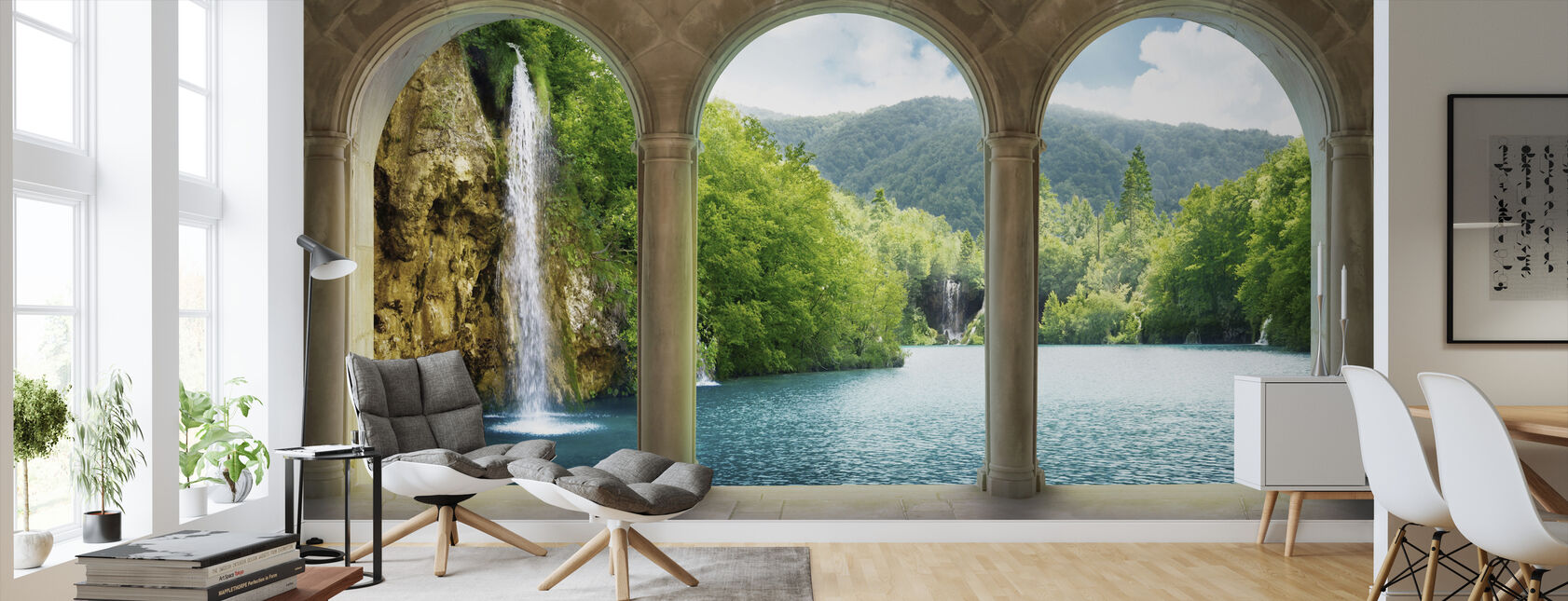 Waterfall behind Vault - Wallpaper - Living Room