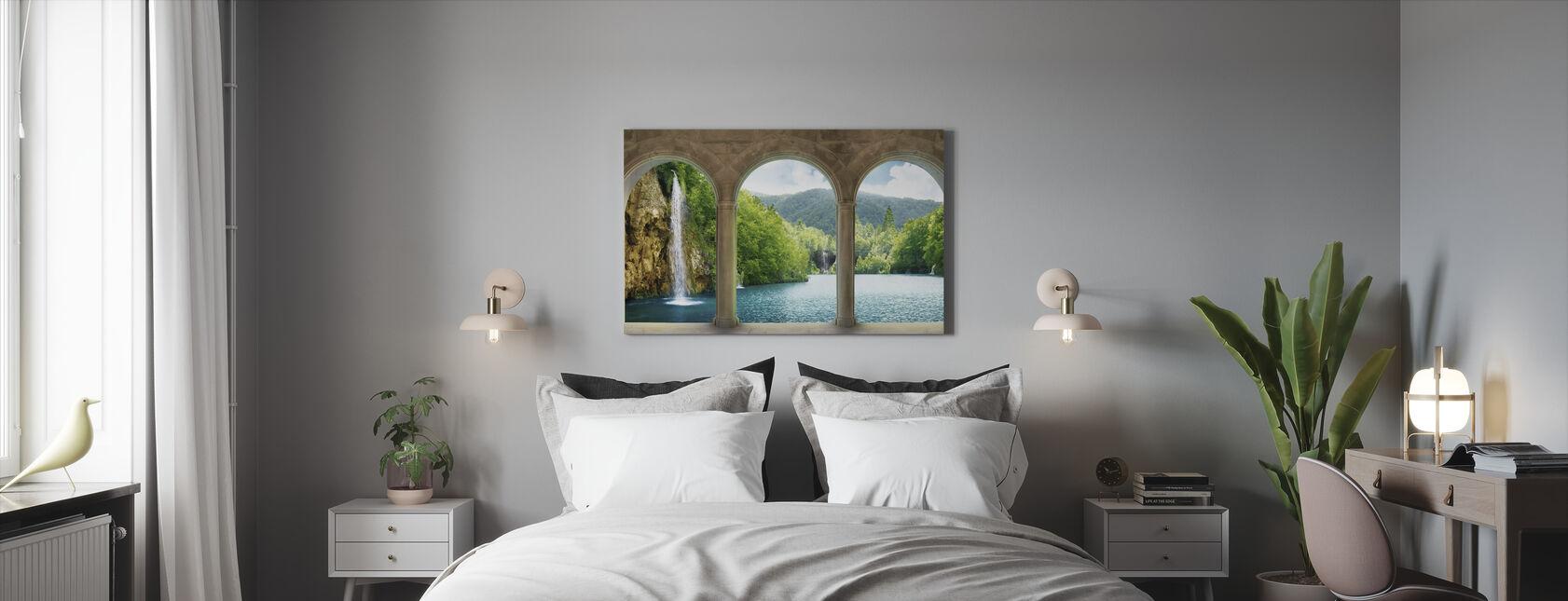 Waterval achter Vault - Canvas print - Slaapkamer