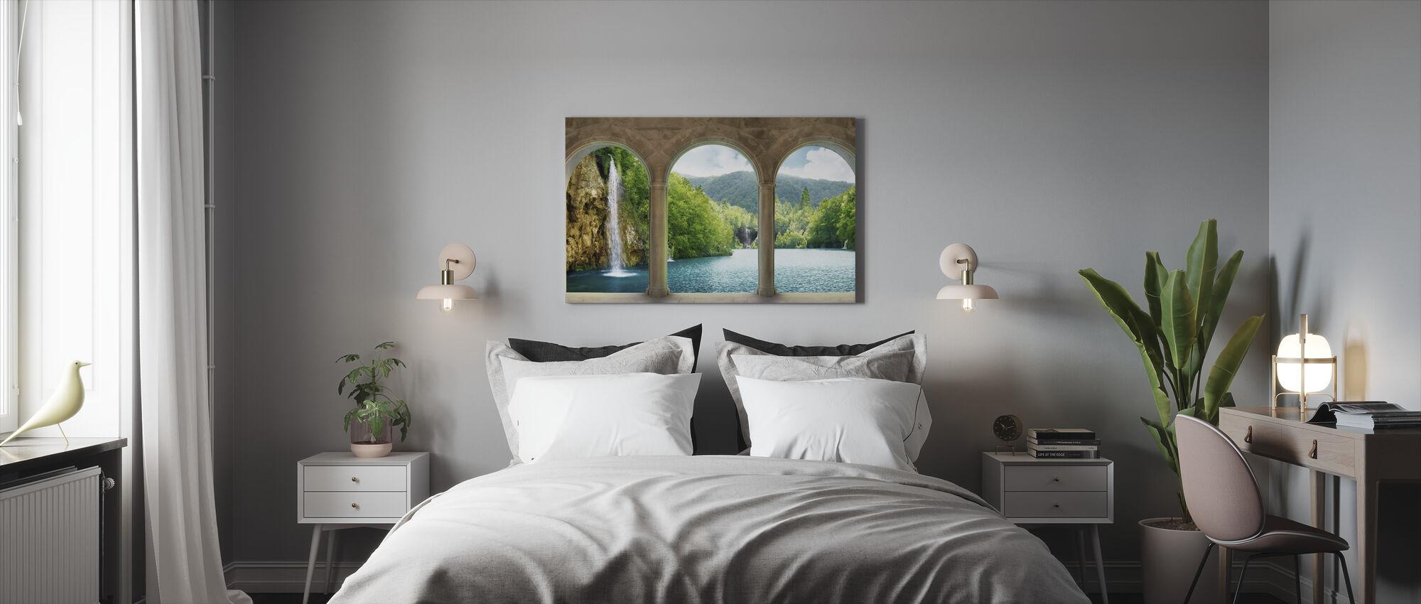 Wasserfall hinter dem Tresor - Leinwandbild - Schlafzimmer