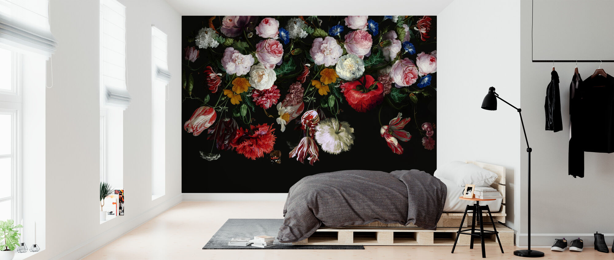 Colourful Flowers on Black Background - Wallpaper - Bedroom