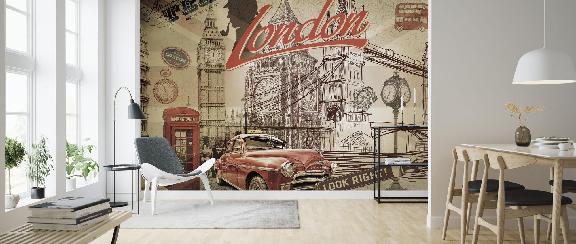 Vintage London Postkort - Tapet - Stue