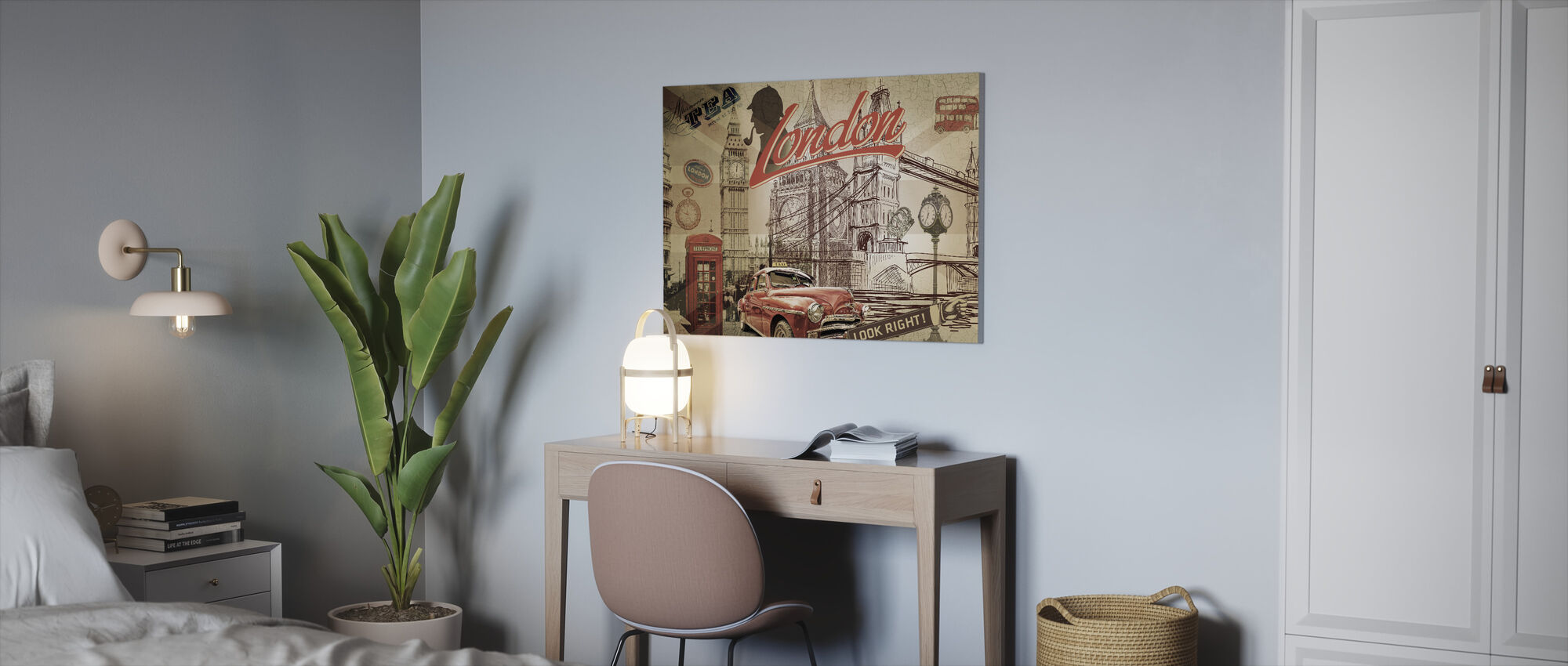 Vintage London Postcard - Canvas print - Office