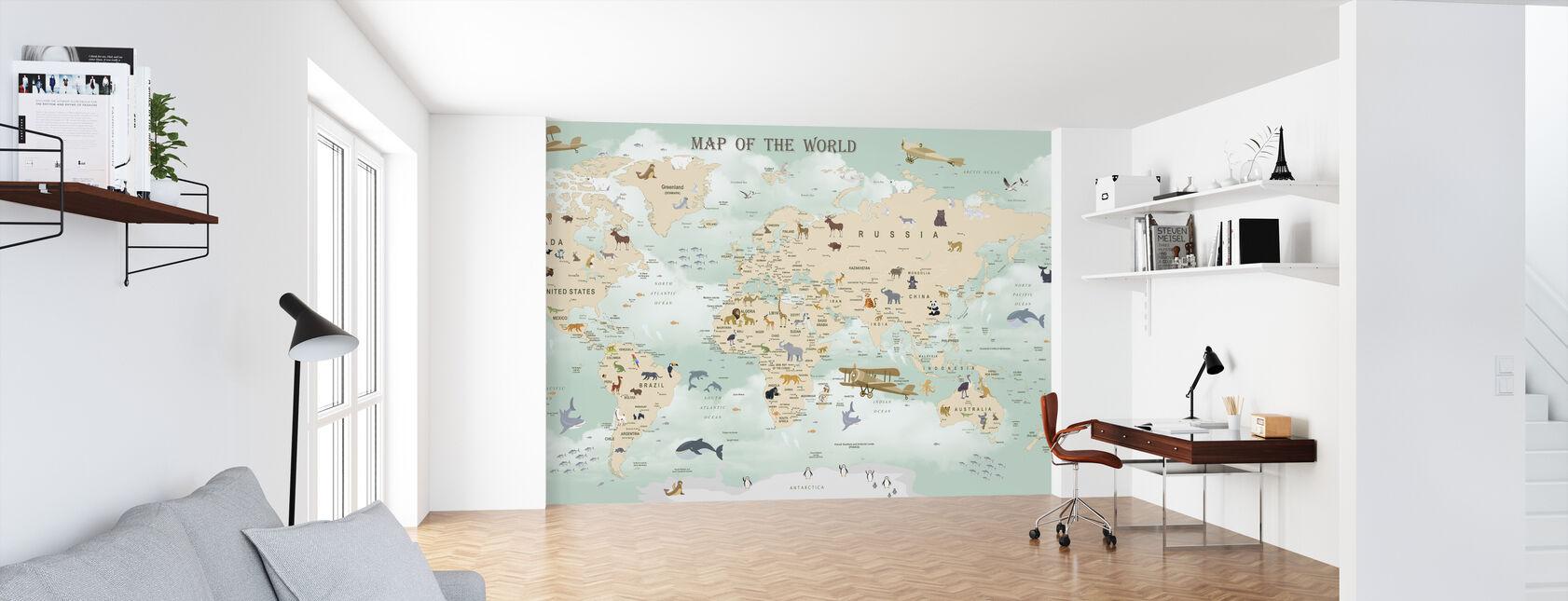 Wildlife World Map - Wallpaper - Office
