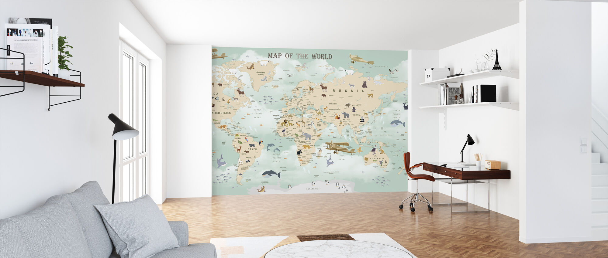 Wildlife World Map - Wallpaper - Office