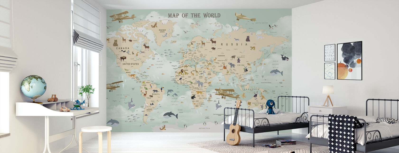 Carte du monde de la faune - Papier peint - Chambre des enfants