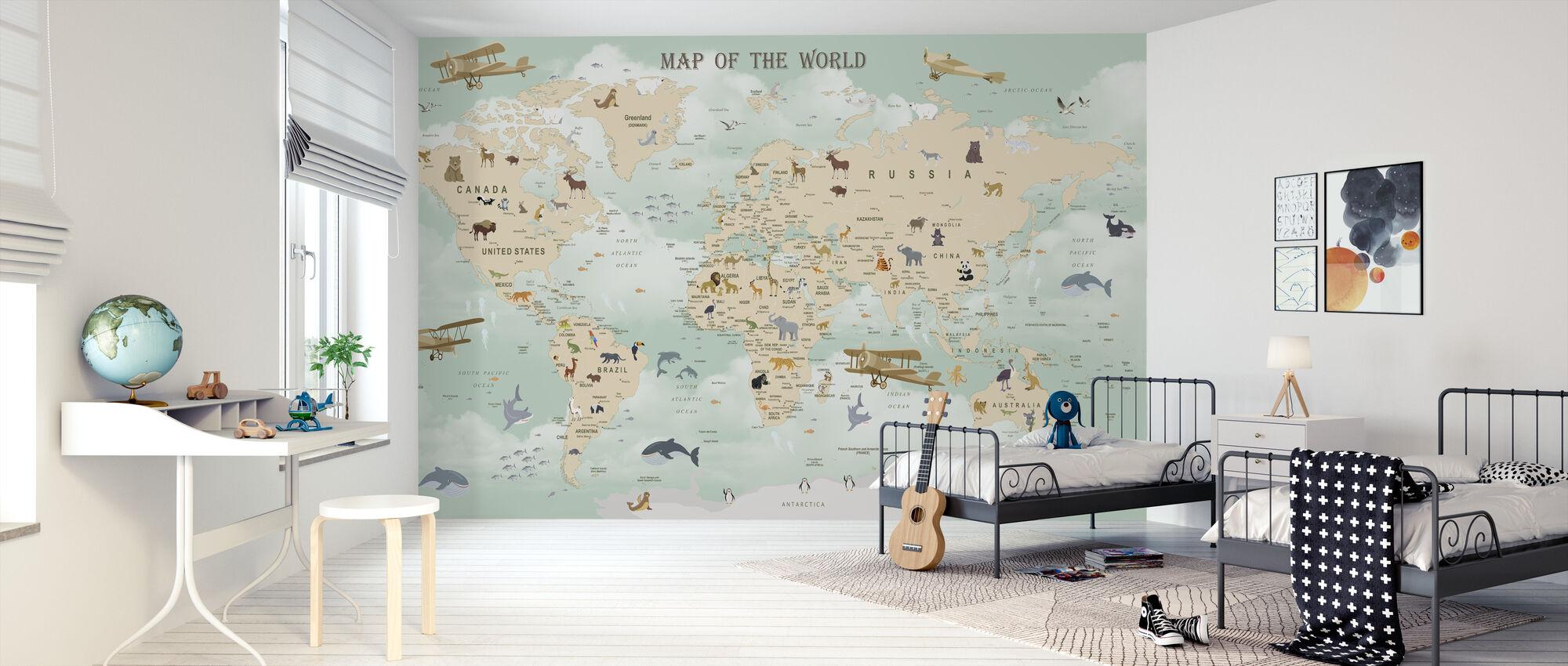 Wildlife World Kort - Tapet - Barnerom