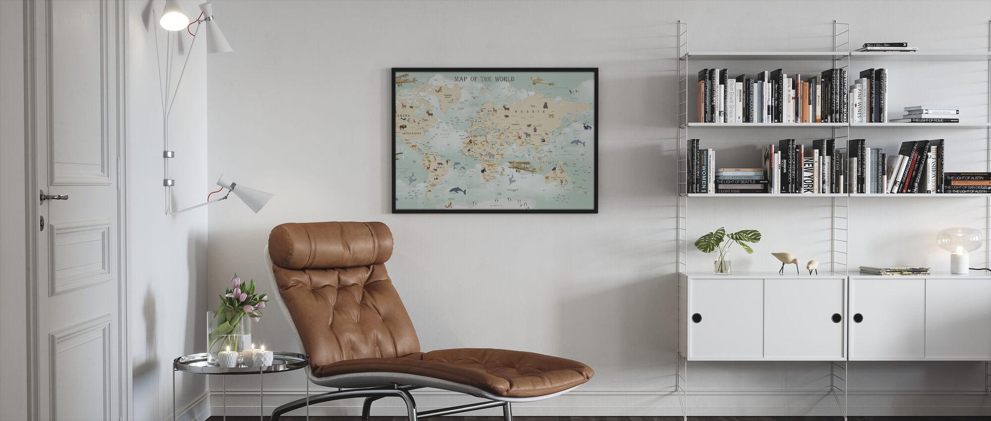Wildlife World Map - Framed print - Living Room