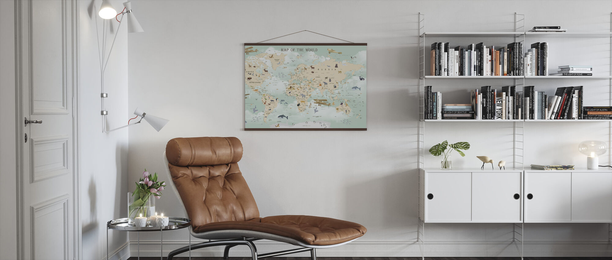 Wildlife World Map - Poster - Living Room