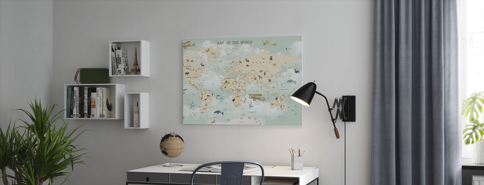 Wildlife World Map - Canvas print - Office