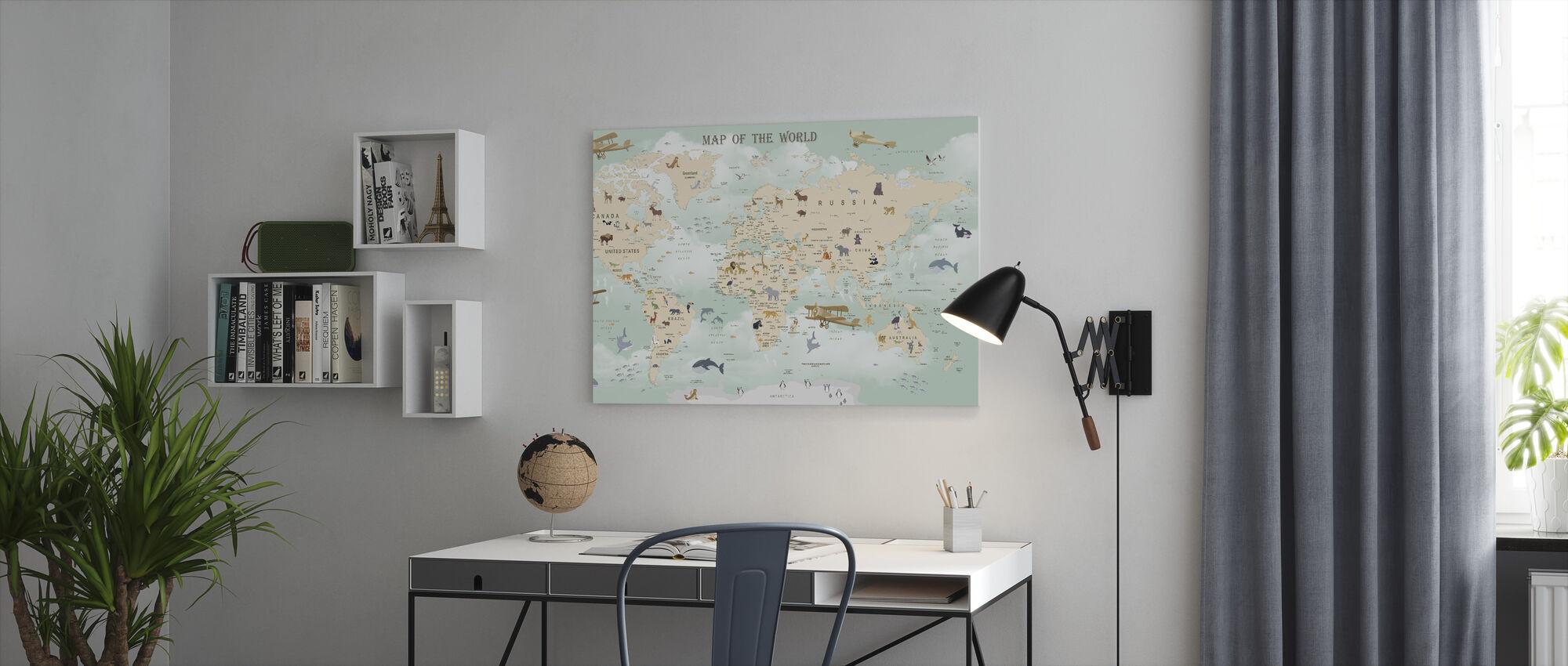 Wildlife World Map - Canvas print - Office