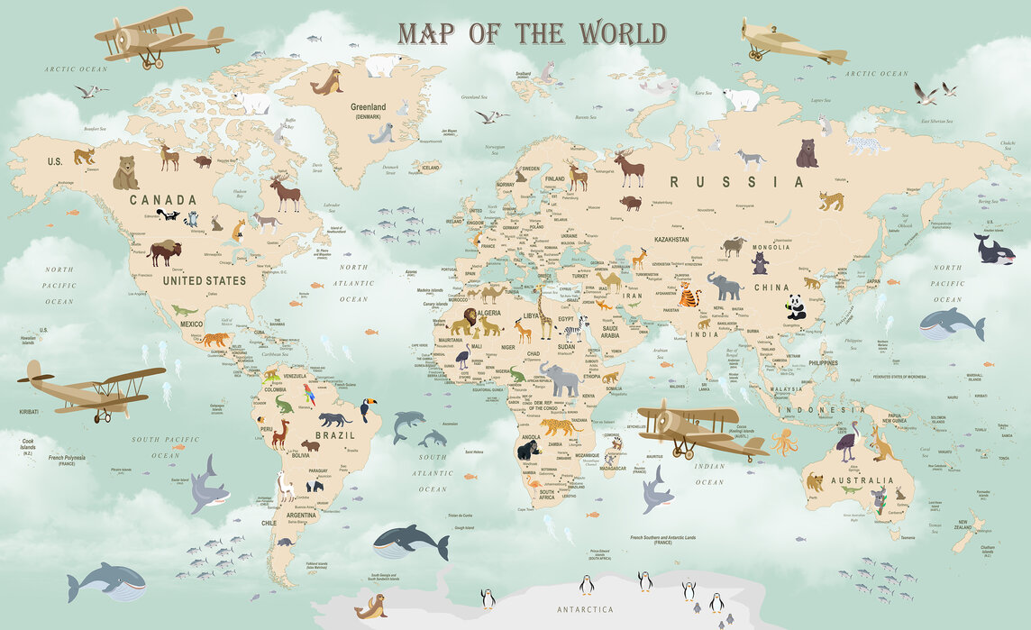 World Map Wallpaper Canada Wildlife World Map – high quality wall murals with free US