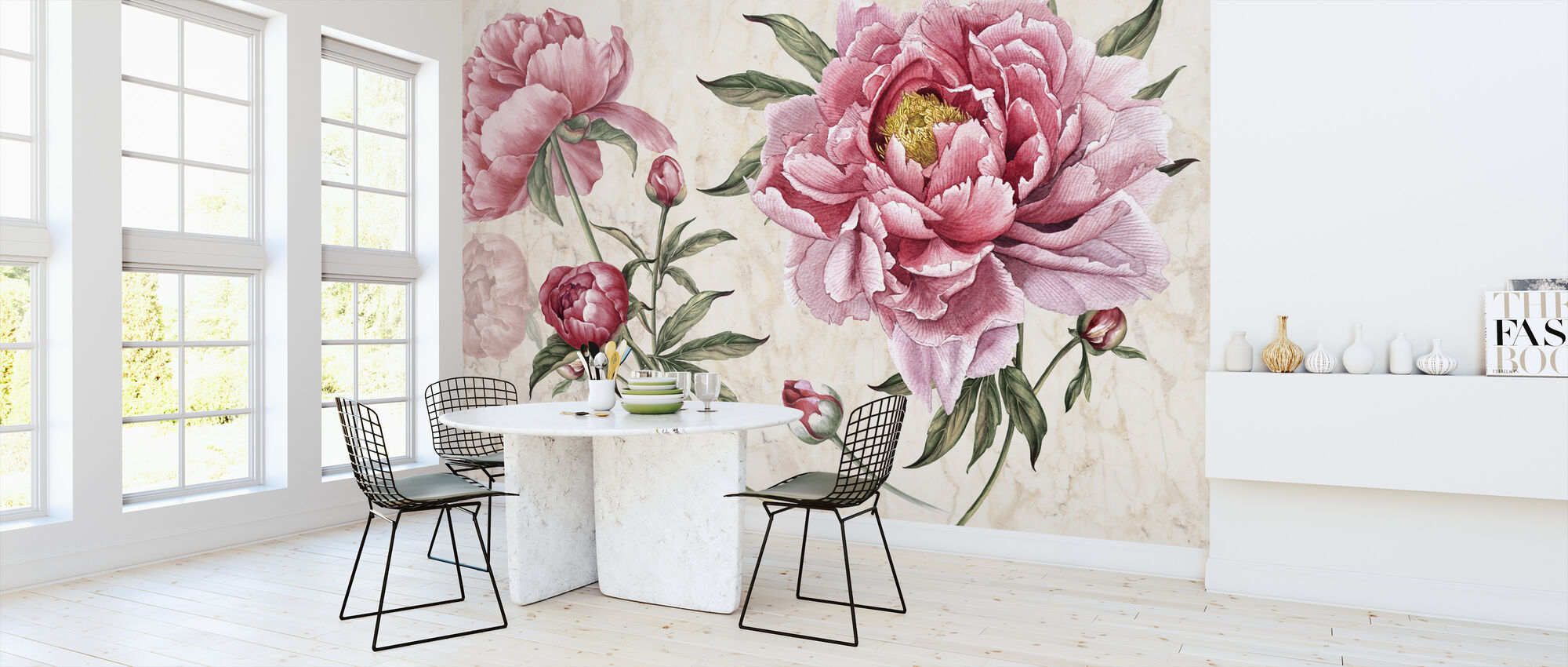 Pink Vintage Flowers - Wallpaper - Kitchen