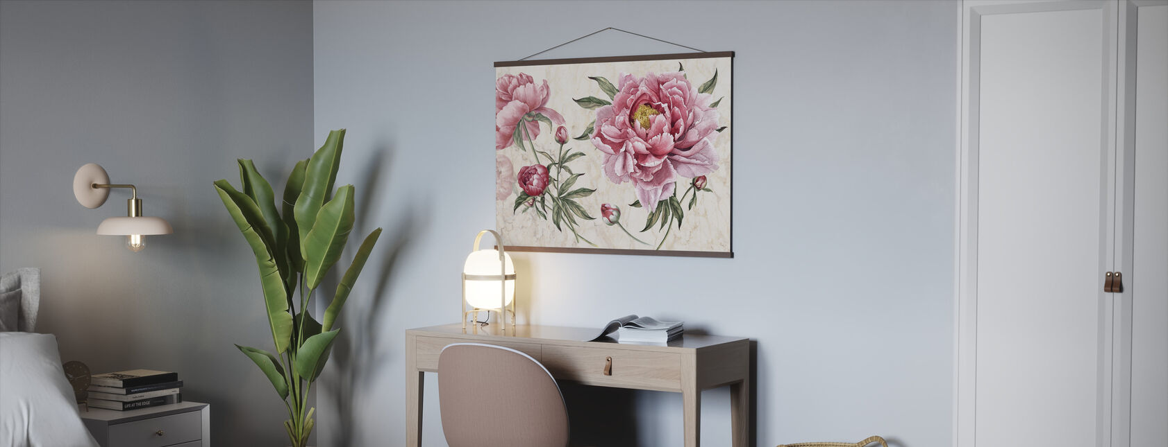 Pink Vintage Flowers - Poster - Office
