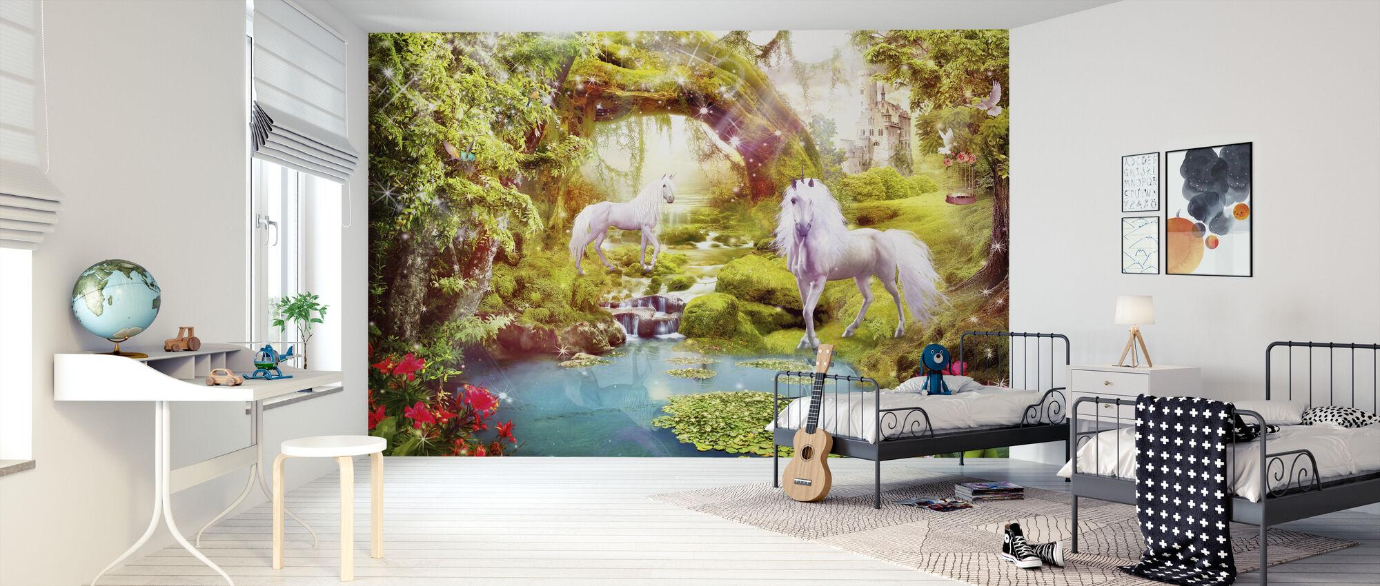 Unicorns in Dreamy Landscape - Wallpaper - Kids Room