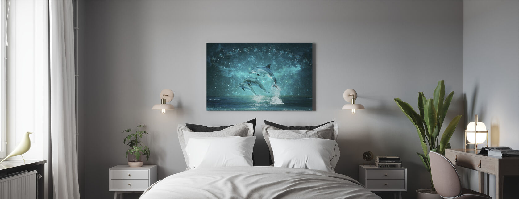 Jumping Dolphines - Canvas print - Bedroom