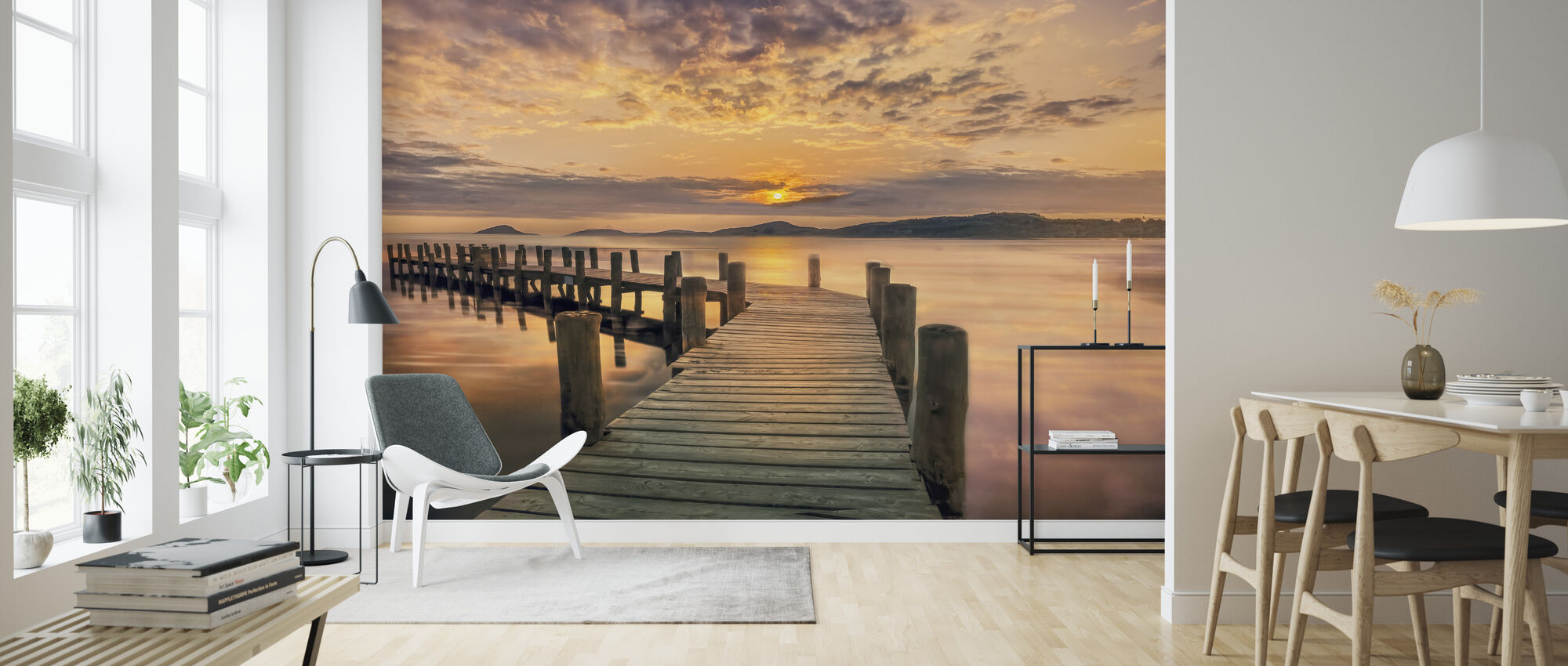 Pier in Sunset - Behang - Woonkamer