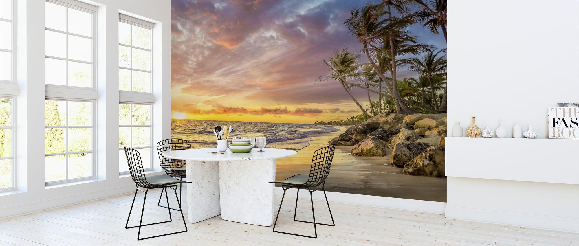 Palmboom bij zonsondergang - Behang - Keuken
