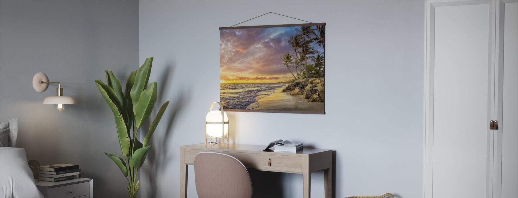 Palme im Sonnenuntergang - Poster - Büro