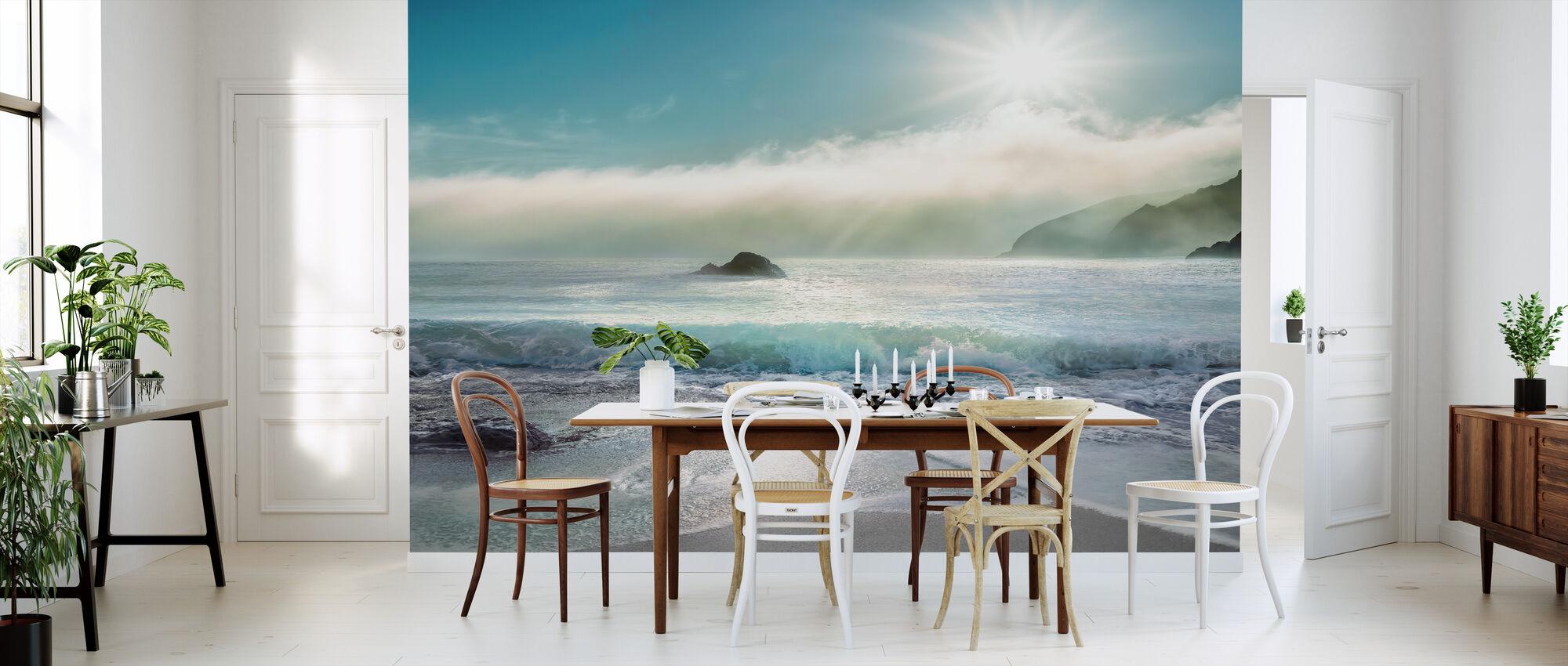 Zonlicht boven de oceaan - Behang - Keuken