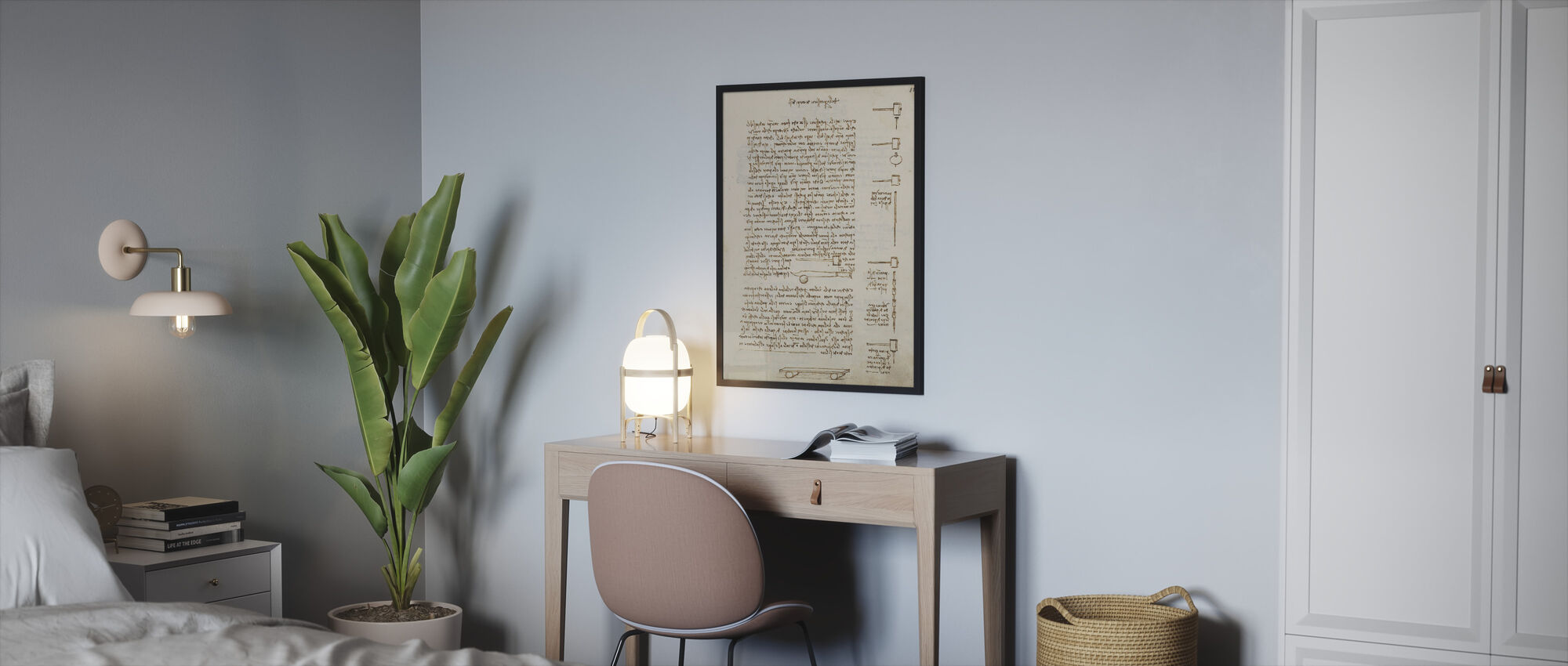 Statics and Mechanics - Leonardo Da Vinci - Framed print - Bedroom