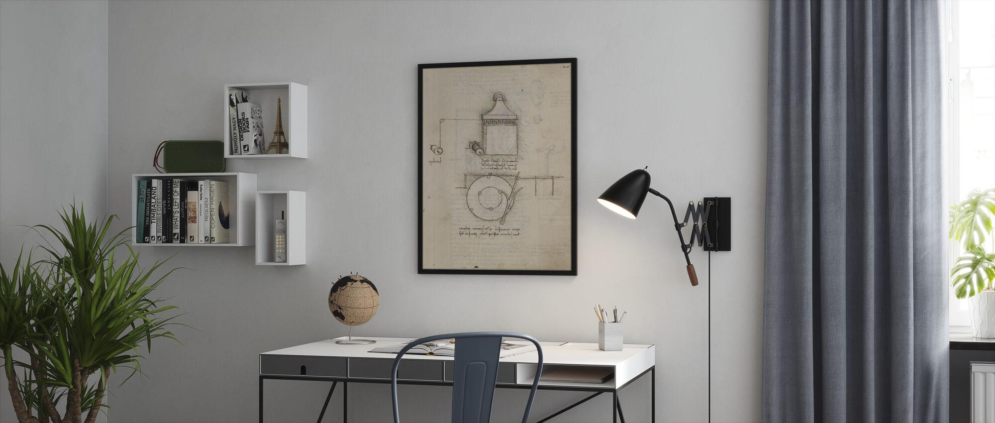 Pulley System - Leonardo Da Vinci - Framed print - Office