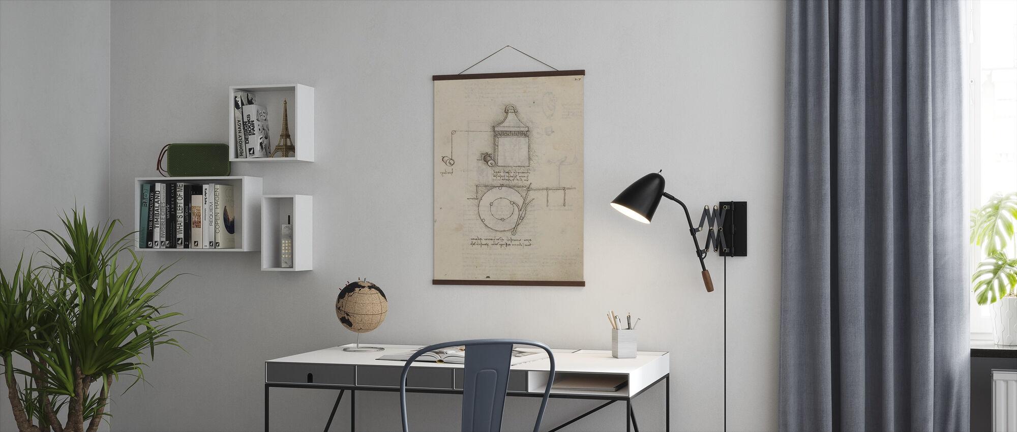 Pulley System - Leonardo Da Vinci - Poster - Office