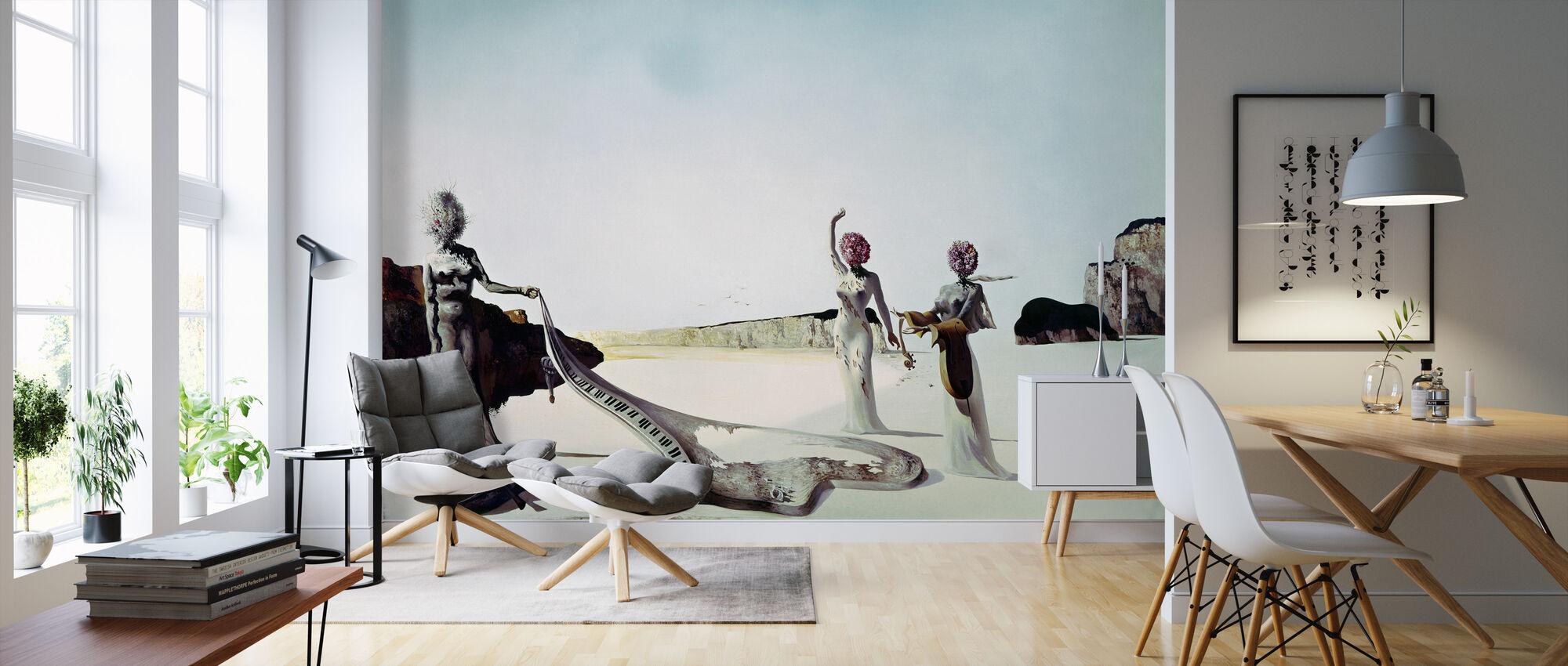 Tre kvinder med hud af orkester - Salvador Dali - Tapet - Stue