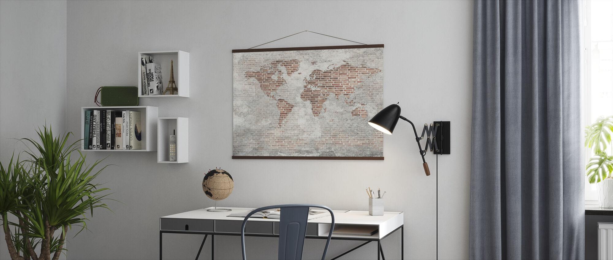Brick Wall Wereld Kaart - Poster - Kantoor