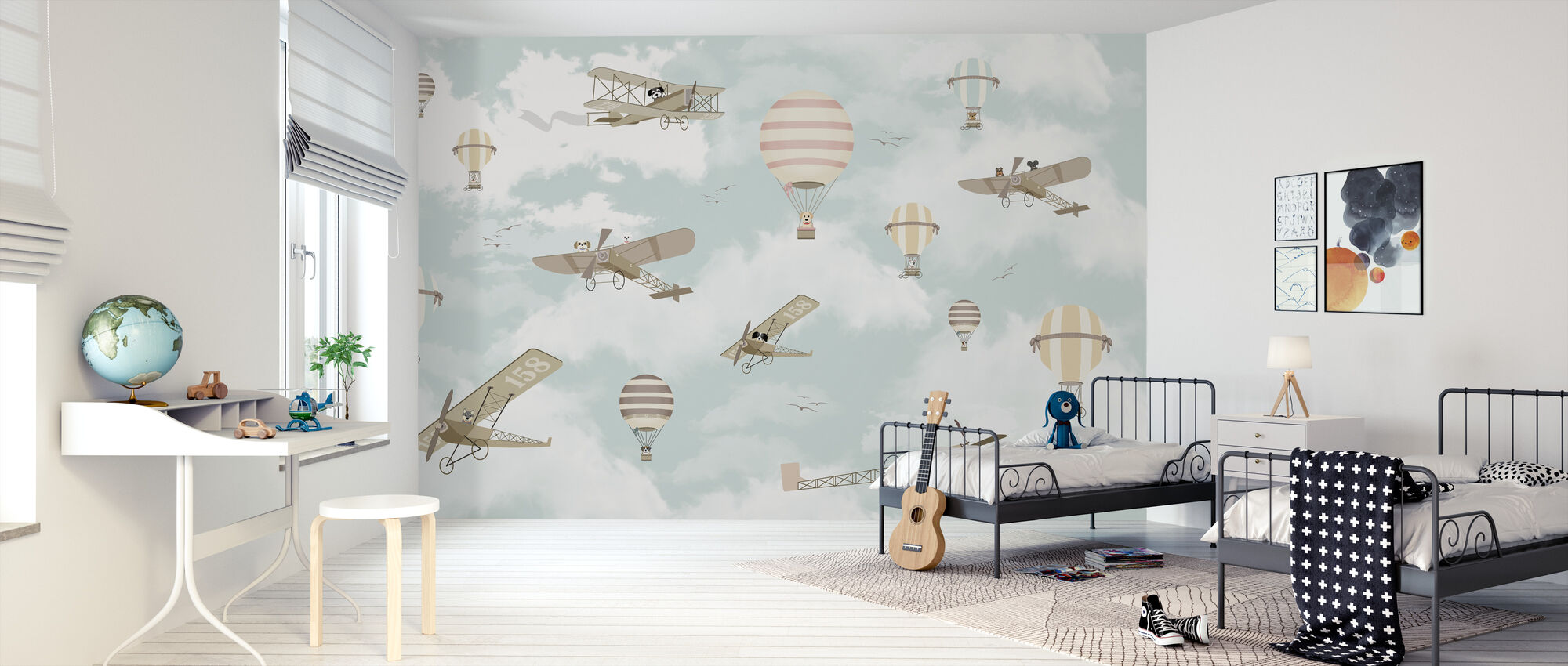 Lets fly Dog Friends - Wallpaper - Kids Room