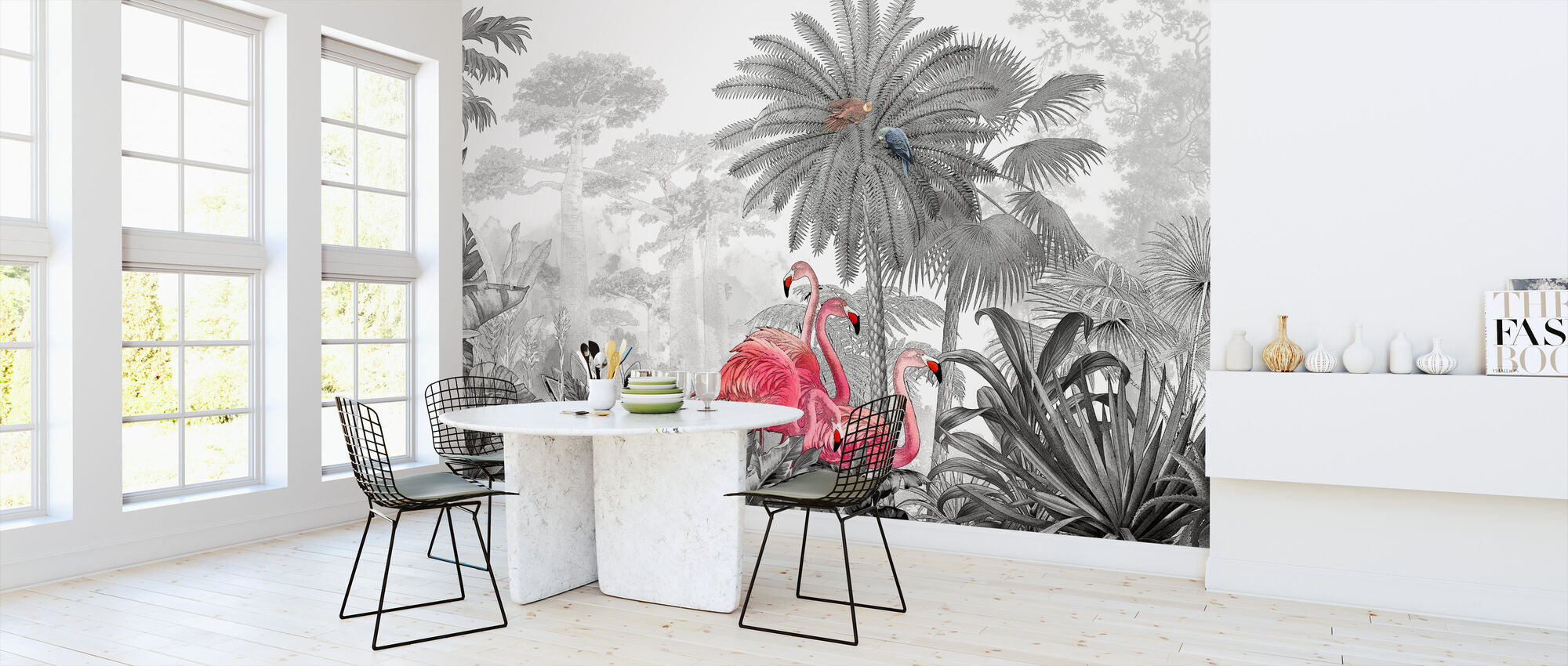 Tropische Flamingo's - Behang - Keuken
