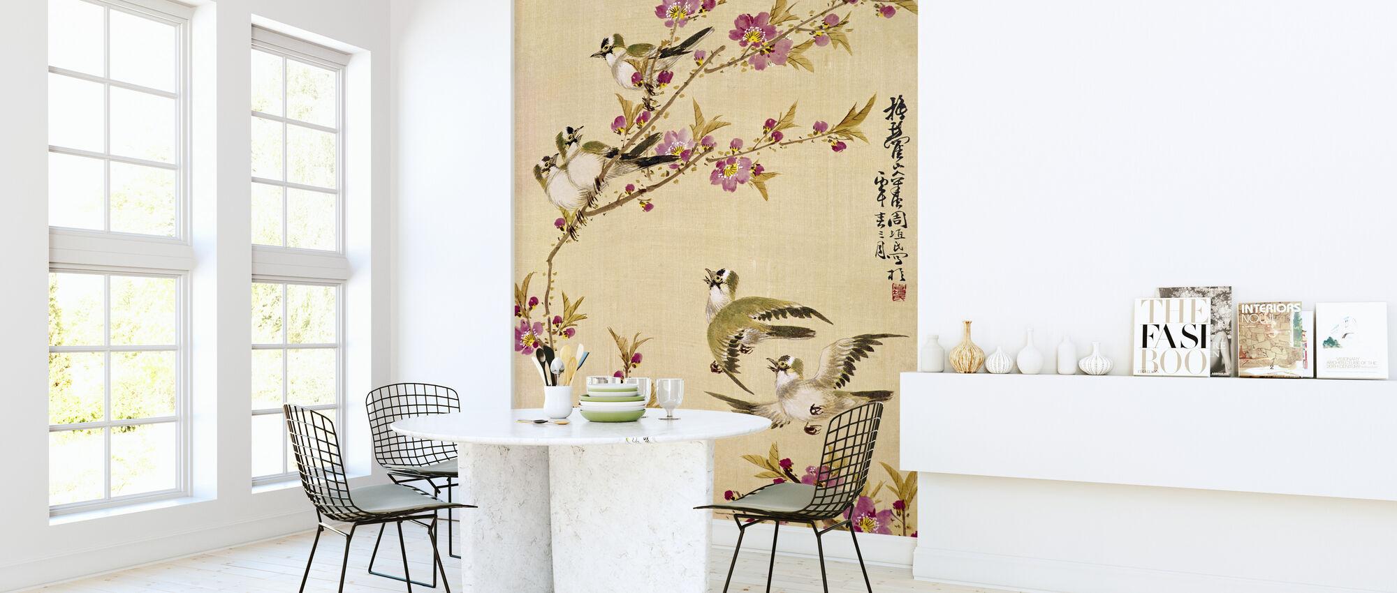 Vijf vogels met roze bloesems - Behang - Keuken