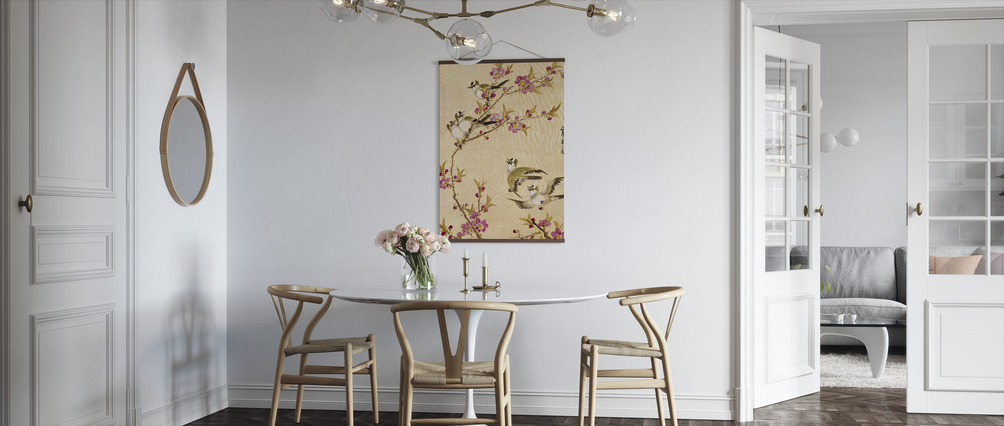 Five Birds with Pink Blossoms - Poster - Kitchen