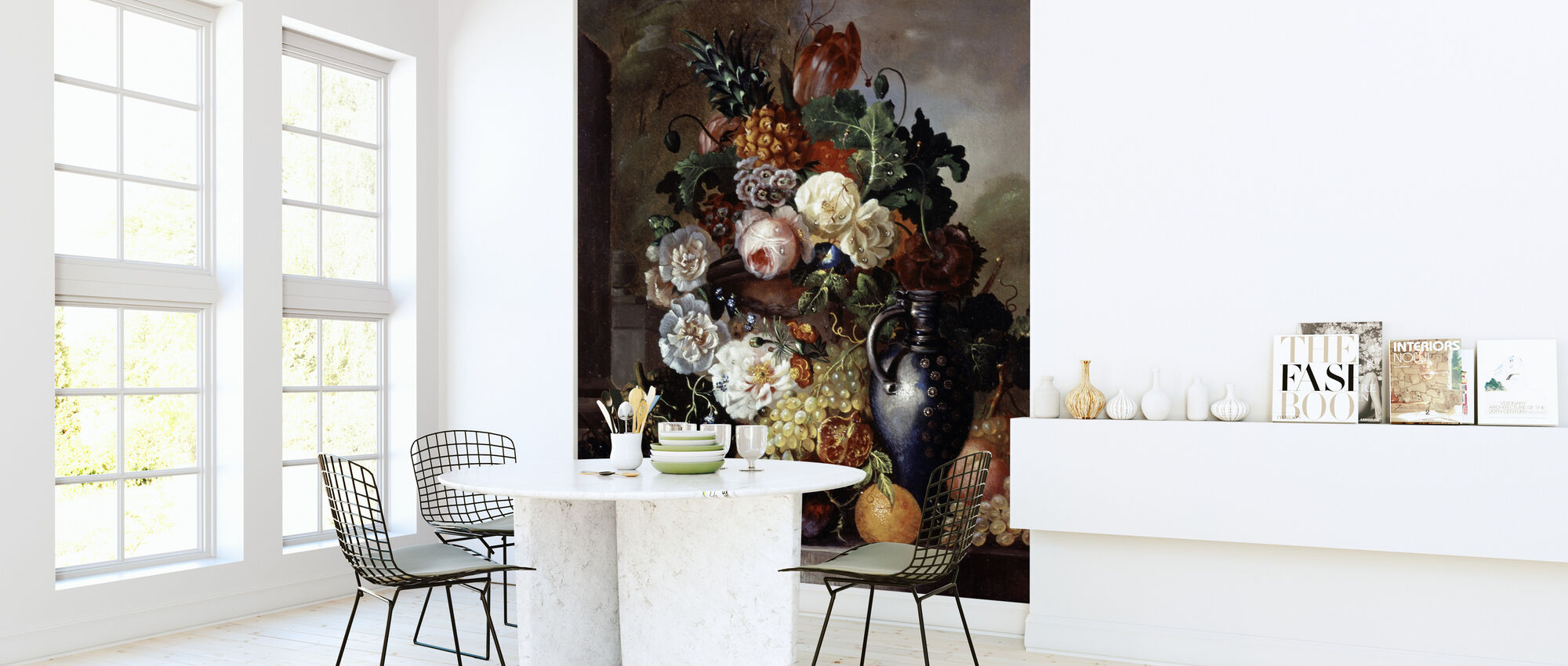 Still Life of Fruit and Flowers - Francois Joseph Huygens - Wallpaper - Kitchen