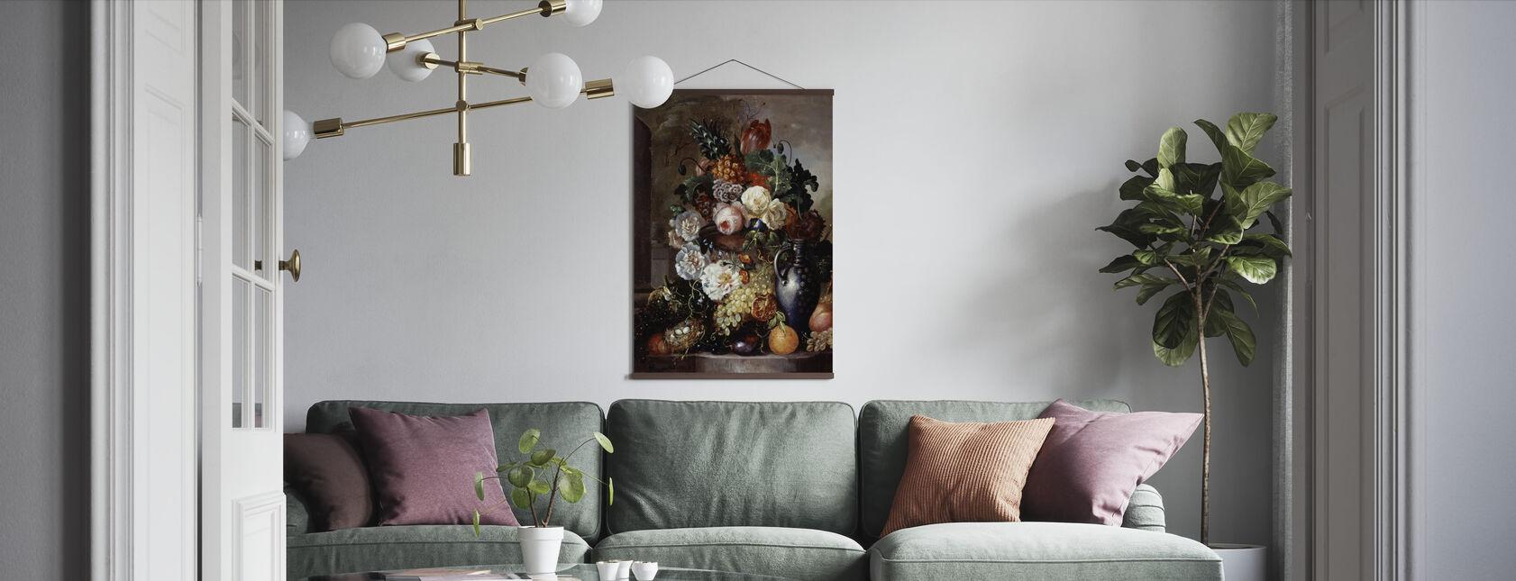 Stilleven van fruit en bloemen - Francois Joseph Huygens - Poster - Woonkamer