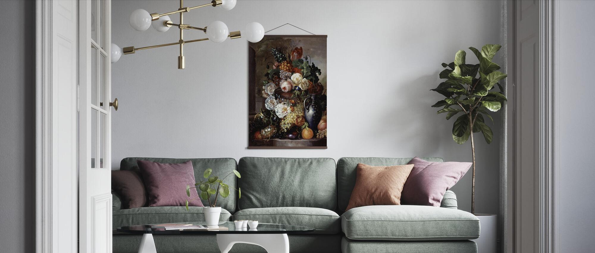 Hedelmien ja kukkien asetelma - Francois Joseph Huygens - Juliste - Olohuone