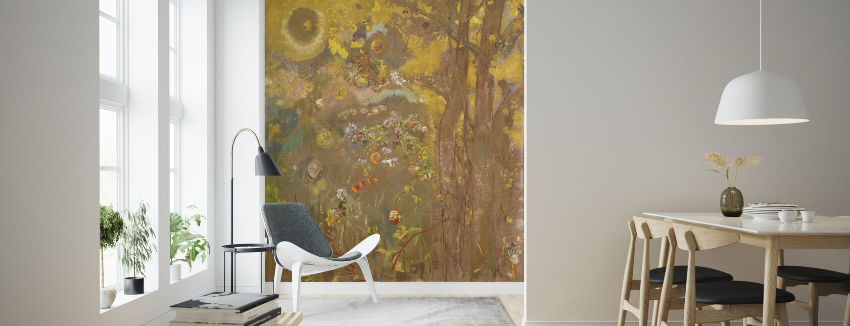 Trees on a Yellow Background - Redon - Wallpaper - Living Room
