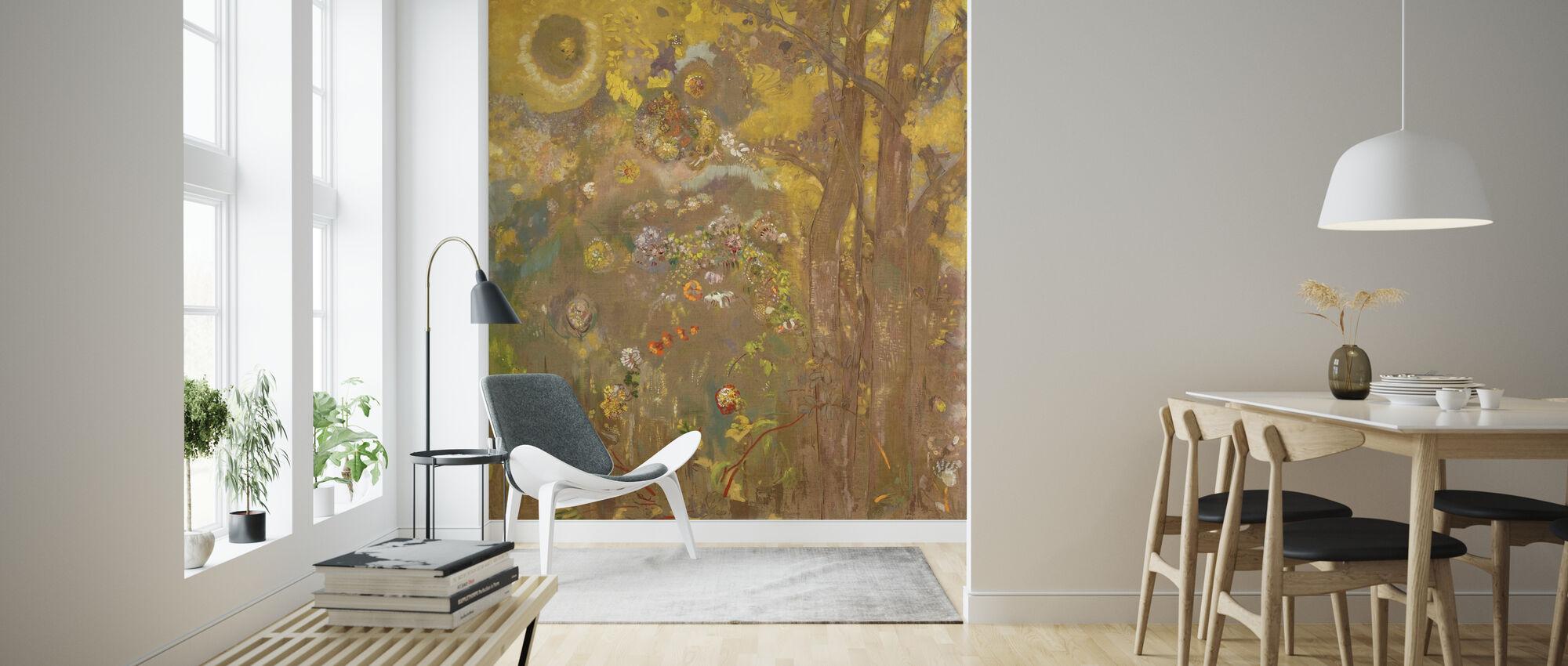 Træer på gul baggrund - Redon - Tapet - Stue