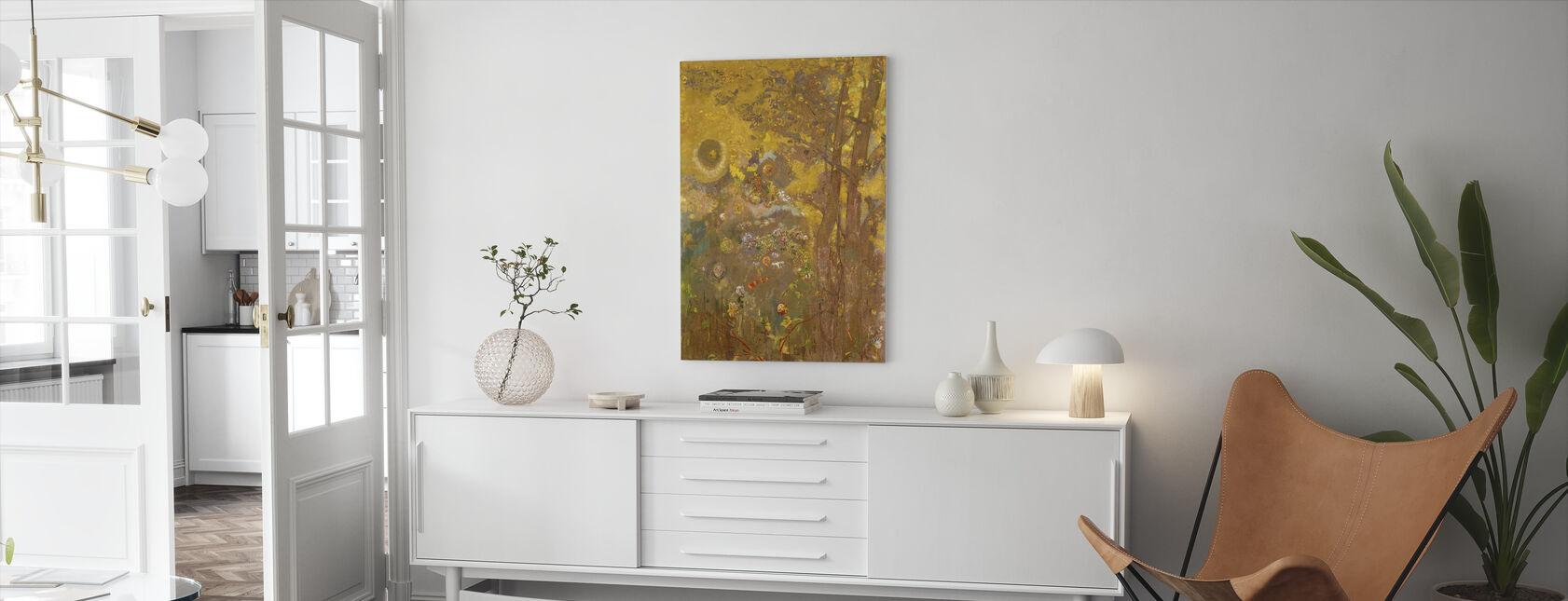 Bomen op een gele achtergrond - Redon - Canvas print - Woonkamer