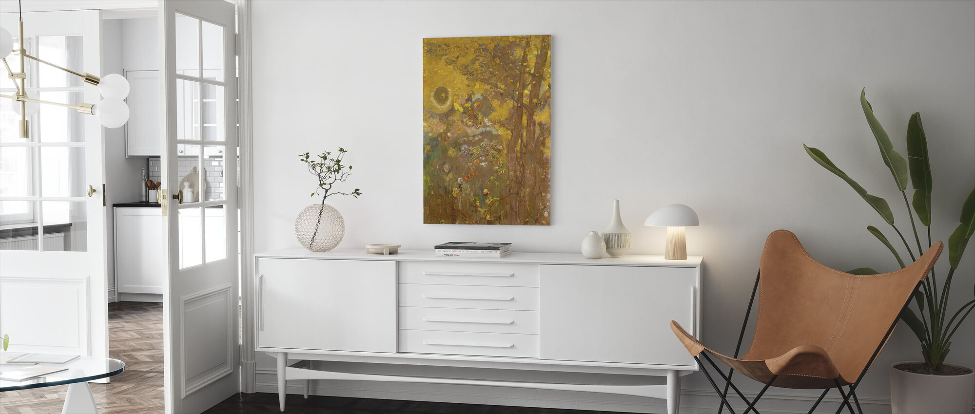 Trees on a Yellow Background - Redon - Canvas print - Living Room